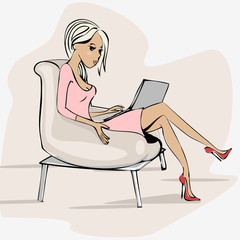 illustration of a girl in a chair with a laptop