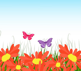 background with yellow sunflowers, green grass and butterflies