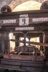 Fototapete - Alte Weinpresse auf einem Weingutvineyard