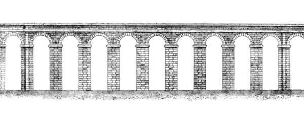 Wall Mural - Victorian engraving of a Roman aquaduct