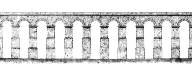 Victorian engraving of a Roman aquaduct Wall mural