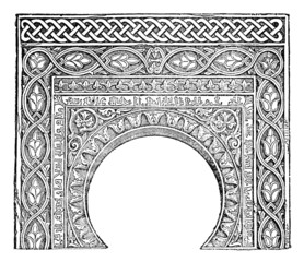 Wall Mural - Victorian engraving of an arabesque arch
