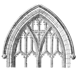 Wall Mural - Victorian engraving of a Gothic cathedral window arch