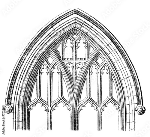 Victorian Engraving Of A Gothic Cathedral Window Arch