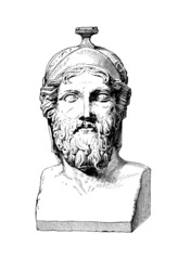 Fototapete - Victorian engraving of a bust of Miltiades