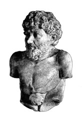 Fototapete - Victorian engraving of a bust of Aesop