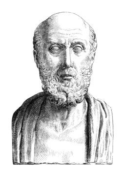 Victorian engraving of a bust of Hippocrates