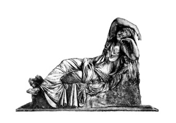 Wall Mural - Victorian engraving of the sculpture Sleeping Ariadne