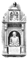 19th century engraving of a monument to Shakespeare, Stratford-u