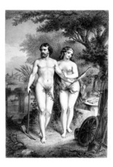 Wall Mural - Victorian engraving of a painting of Adam and Eve