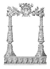 19th century engraving of an ornate book decoration