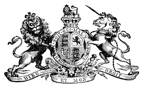 19th century engrving of the Royal Coat of Arms of the United Ki