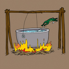 Frog Jumping Out of Campfire Pot