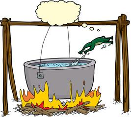 Smart Frog Escaping Cauldron