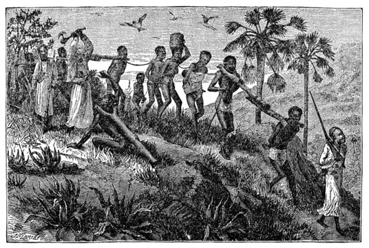 Victorian engraving of African slaves and slavers