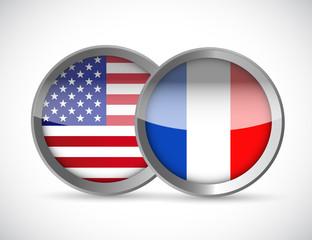 usa and france union seals illustration