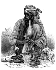 Victorian engraving of a    snake charmer, India