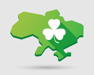 Ukraine green map icon with a clover