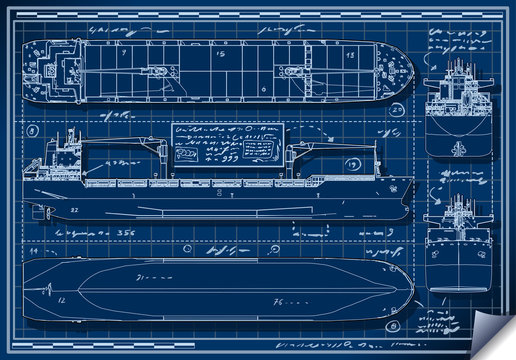 Orthogonal Blue Print of a Cargo Ship Vector
