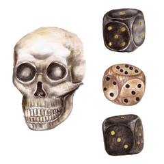 Set with dice and bones . Watercolor illustration