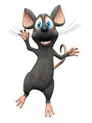 Smiling cartoon mouse jumping for joy.