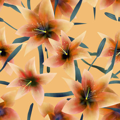Seamless pattern with lilies texture background