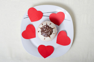 Valentines day, appetizing cake on a plate