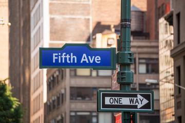 Fift avenue sign 5 th Av New York Mahnattan