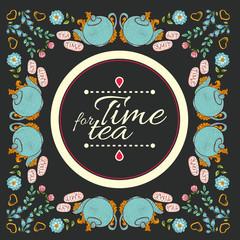 """tea flower wreath frame  """"time for tea"""""""