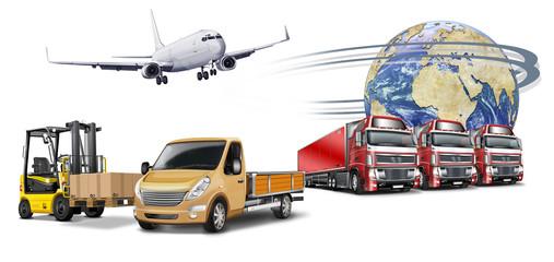 Transport, Logistik weltweit. Truck, Flugzeug, Gabelstapler, Glo