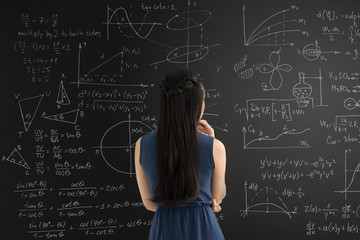 Blackboard with graphs and formulas
