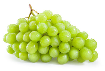Fototapete - Green grape with drops isolated on white background