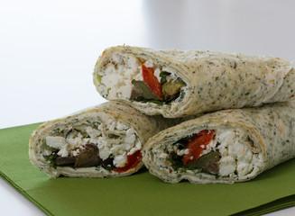 Wraps with lettuce on green napkin
