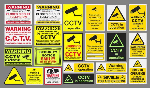 "CCTV ""Closed Circuit Television"" Signs"
