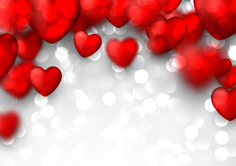 Fototapete - Valentine's background with red hearts.
