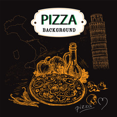 hand-drawn illustration pizza