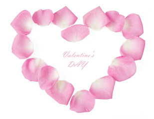 Rose petals heart isolated on white background