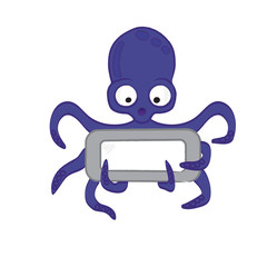 Cute octopus cartoon with frame