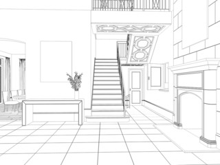 Sketch of room interior design with fireplace and stairs