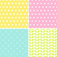 Four backgrounds. Polka dots, geometric leaf and squares.