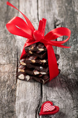 Chokolate on the wooden background