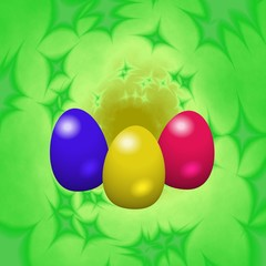 Easter eggs on a green background