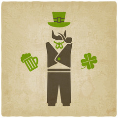 St. Patrick's man with beer and shamrock