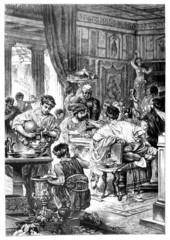 Fototapete - Victorian engraving of a    Roman banquet