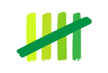 Green tally strokes counting to 5
