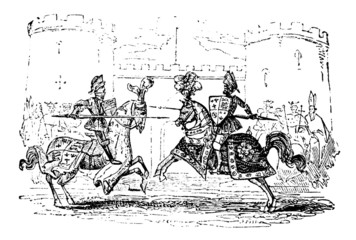 19th century engraving of a jousting tournament Wall mural