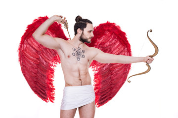 Sexy adult Cupid with big red wings. Valentine, Archangel