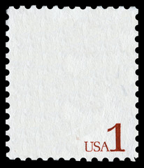 White postal stamp with the writing USA 1