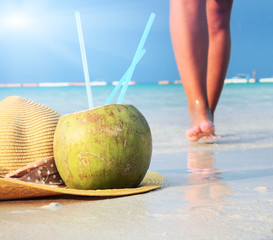 Young fashion woman relaxing on beach
