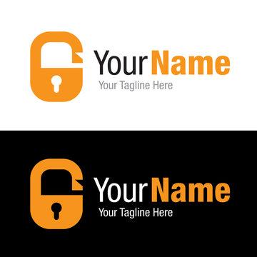 Open security lock key hole graphic design logo icon